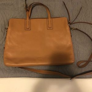 Fossil leather tan 3 pocket computer bag